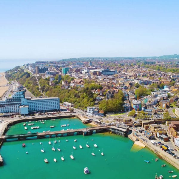 Aerial View Of Folkestone Harbour In The Sun