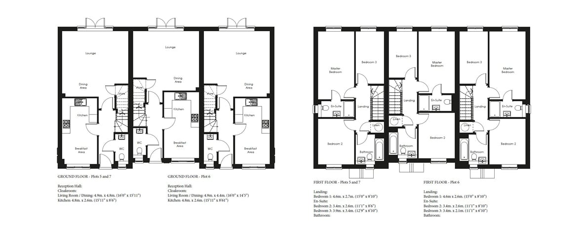 Shapley grange Plots 5, 6, 7 Floor plans