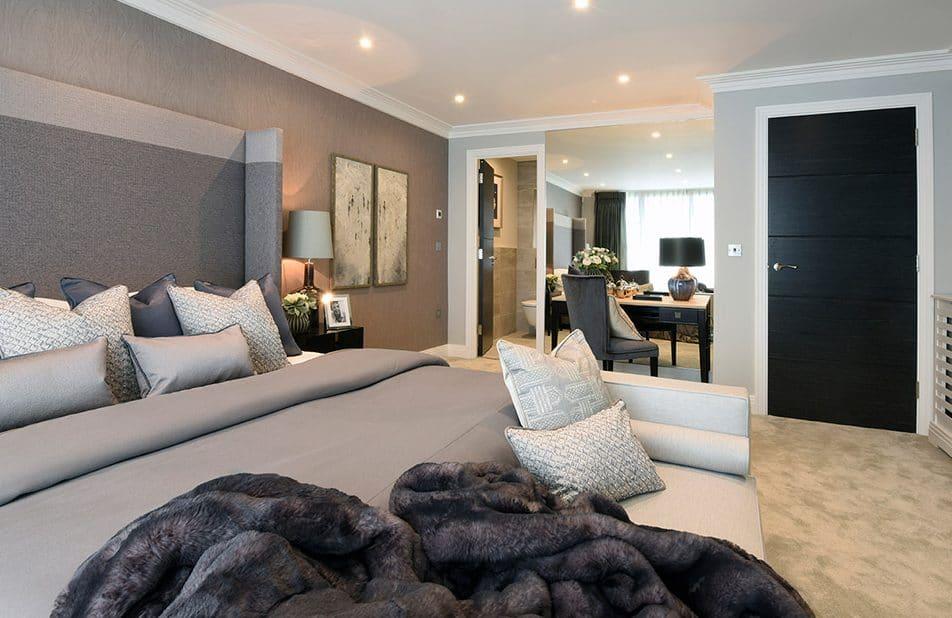 Bedroom With En Suite Bathroom In Luxury New Build Home