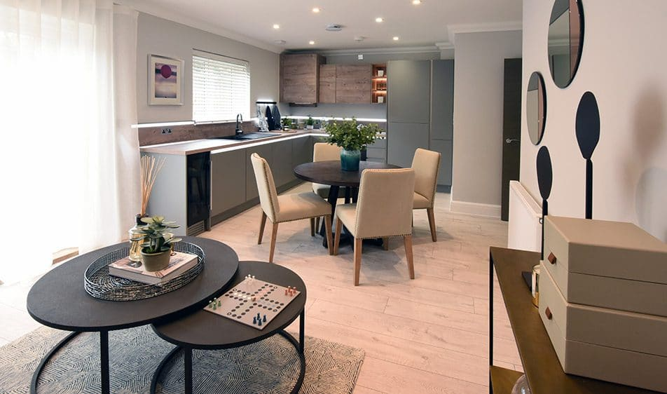 Open Plan Kitchen And Dining Area In A Sunningdale New Build Home